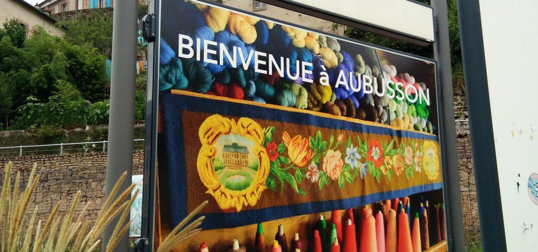 Pancarte Bienvenue à Aubusson